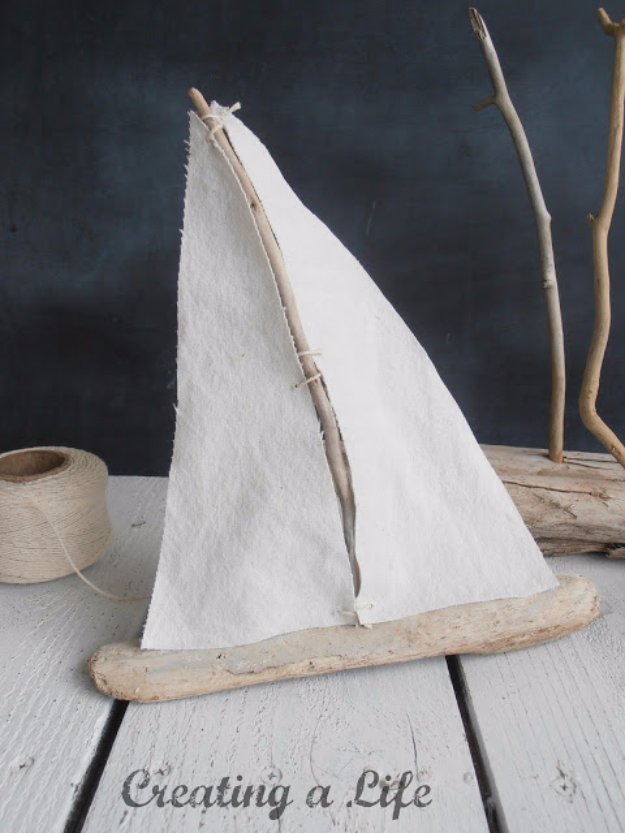 DIY Living Room Decor Ideas - Driftwood Sailboat Tutorial - Cool Modern, Rustic and Creative Home Decor - Coffee Tables, Wall Art, Rugs, Pillows and Chairs. Step by Step Tutorials and Instructions