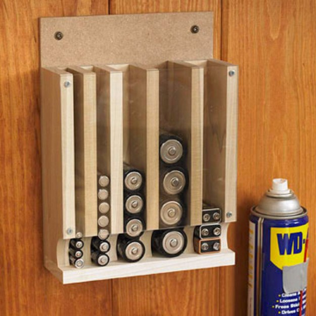 DIY Projects Your Garage Needs -Drop Down Battery Dispenser DIY - Do It Yourself Garage Makeover Ideas Include Storage, Organization, Shelves, and Project Plans for Cool New Garage Decor #diy #garage #homeimprovement