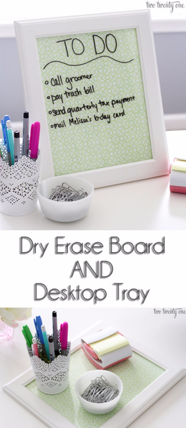 DIY Home Office Decor Ideas - Dry Erase Board And Desktop Tray - Do It Yourself Desks, Tables, Wall Art, Chairs, Rugs, Seating and Desk Accessories for Your Home Office #office #diydecor #diy