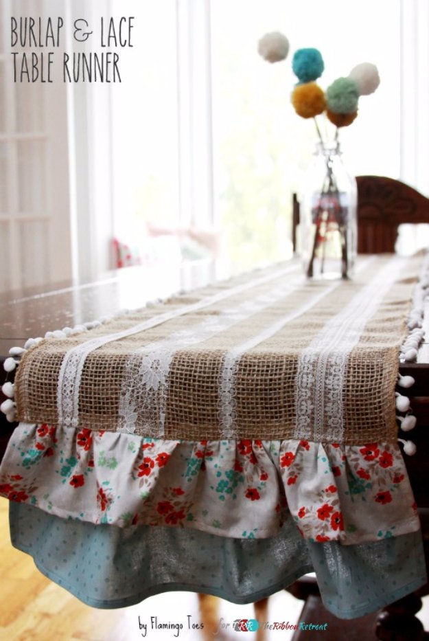 DIY Dining Room Decor Ideas - Easy Burlap Lace Table Runner - Cool DIY Projects for Table, Chairs, Decorations, Wall Art, Bench Plans, Storage, Buffet, Hutch and Lighting Tutorials http://diyjoy.com/diy-dining-room-decor-ideas