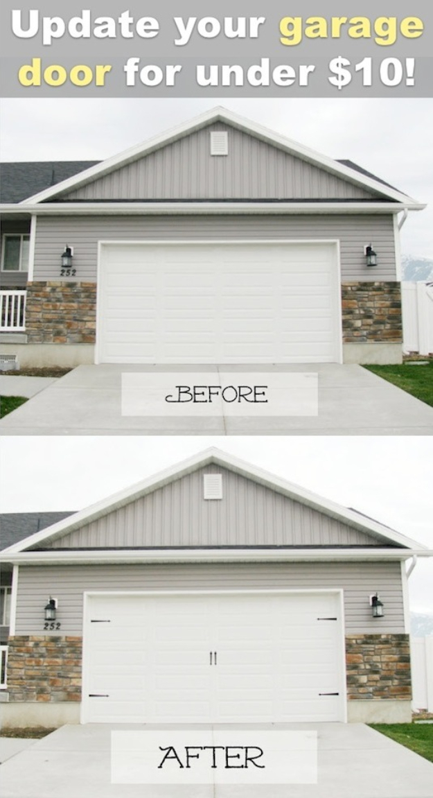 Creative Ways to Increase Curb Appeal on A Budget - Easy Carriage Style Garage Doors - Cheap and Easy Ideas for Upgrading Your Front Porch, Landscaping, Driveways, Garage Doors, Brick and Home Exteriors. Add Window Boxes, House Numbers