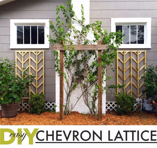 Creative Ways to Increase Curb Appeal on A Budget - Easy DIY Chevron Lattice Trellis Tutorial - Cheap and Easy Ideas for Upgrading Your Front Porch, Landscaping, Driveways, Garage Doors, Brick and Home Exteriors. Add Window Boxes, House Numbers