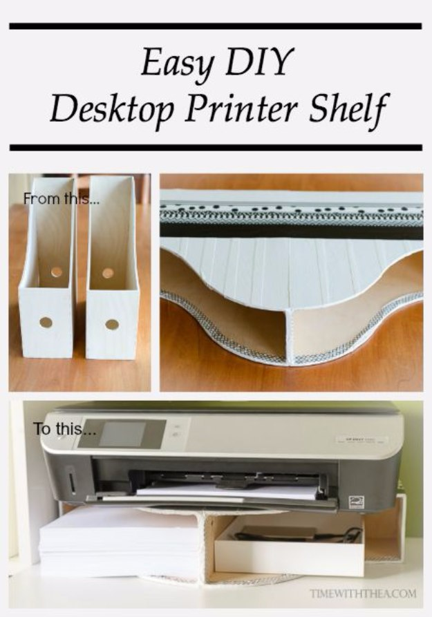 DIY Home Office Decor Ideas - Easy DIY Desktop Printer Shelf - Do It Yourself Desks, Tables, Wall Art, Chairs, Rugs, Seating and Desk Accessories for Your Home Office #office #diydecor #diy