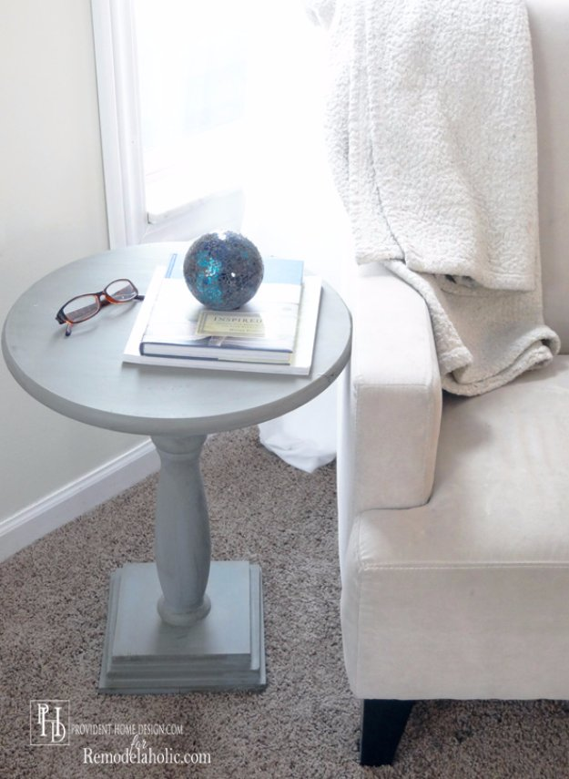 DIY End Tables with Step by Step Tutorials - Easy DIY Pedestal Accent Table - Cheap and Easy End Table Projects and Plans - Wood, Storage, Pallet, Crate, Modern and Rustic. Bedroom and Living Room Decor Ideas http://diyjoy.com/diy-end-tables