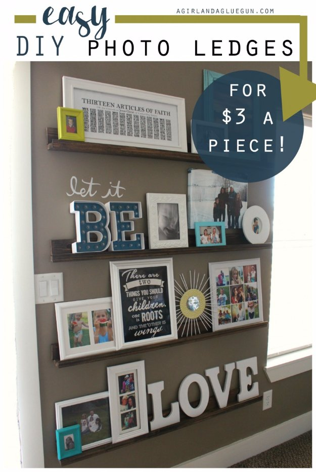 DIY Living Room Decor Ideas - Easy DIY Picture Ledges - Cool Modern, Rustic and Creative Home Decor - Coffee Tables, Wall Art, Rugs, Pillows and Chairs. Step by Step Tutorials and Instructions