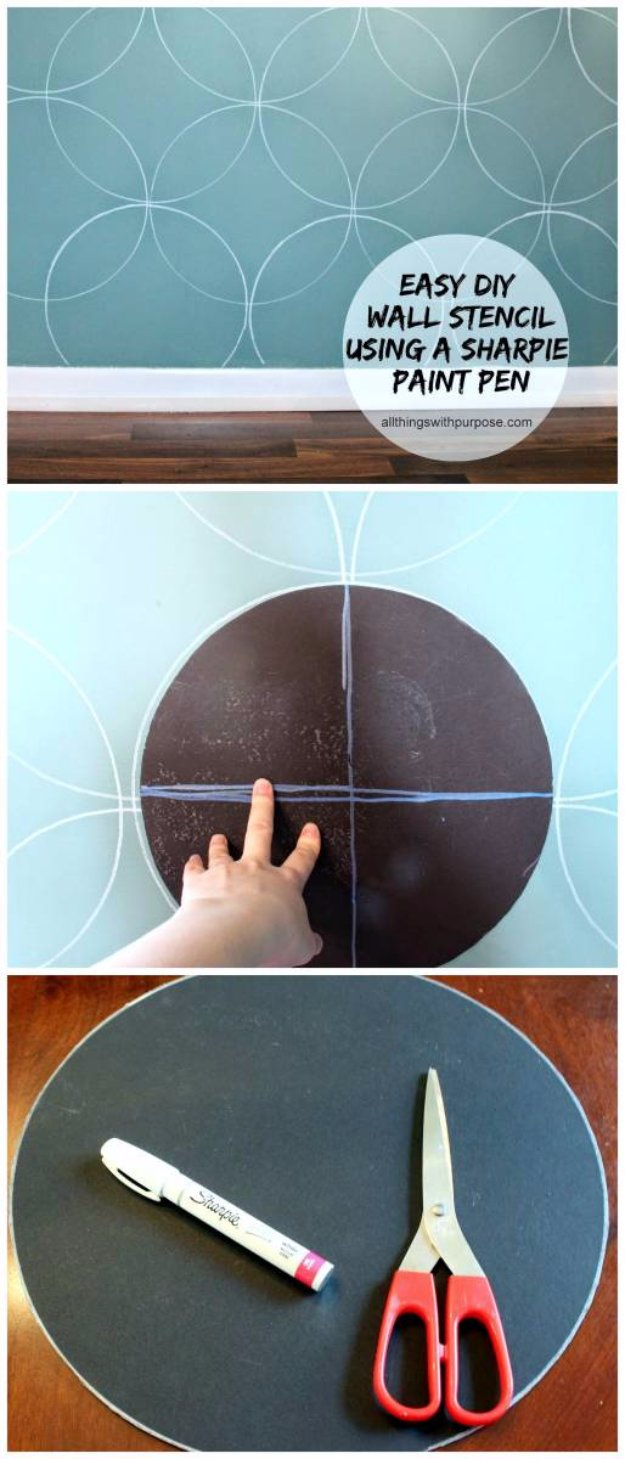 DIY Living Room Decor Ideas - Easy DIY Wall Stencil With Paint Pen - Cool Modern, Rustic and Creative Home Decor - Coffee Tables, Wall Art, Rugs, Pillows and Chairs. Step by Step Tutorials and Instructions