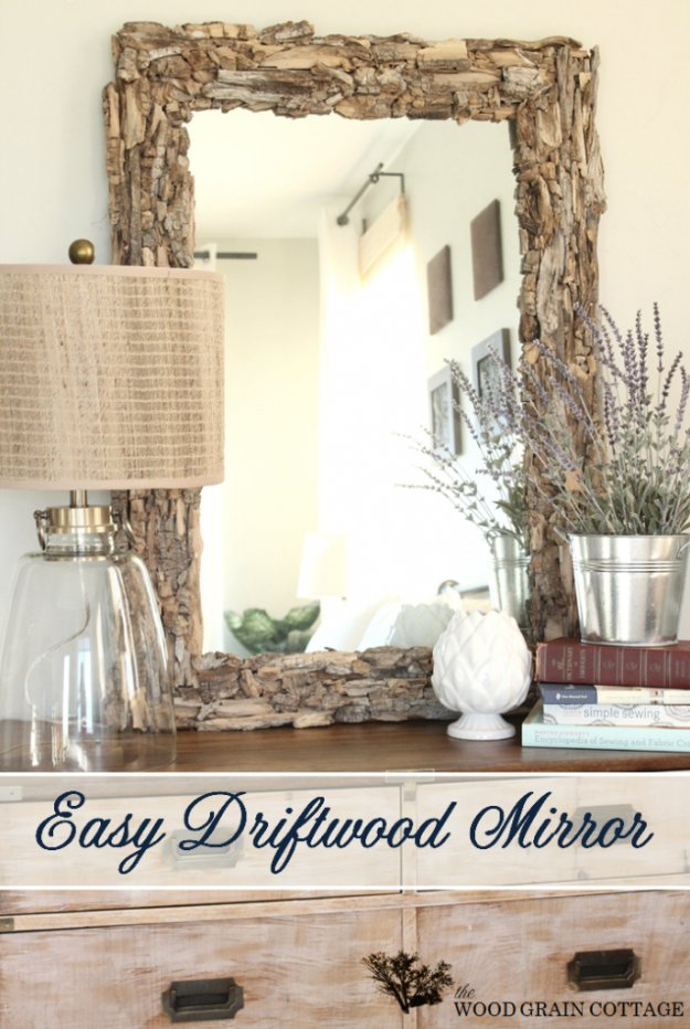 DIY Renters Decor Ideas - Easy Driftwood Mirror - Cool DIY Projects for Those Renting Aparments, Condos or Dorm Rooms - Easy Temporary Wall Art, Contact Paper, Washi Tape and Shelves to Make at Home  #diyhomedecor #diyideas
