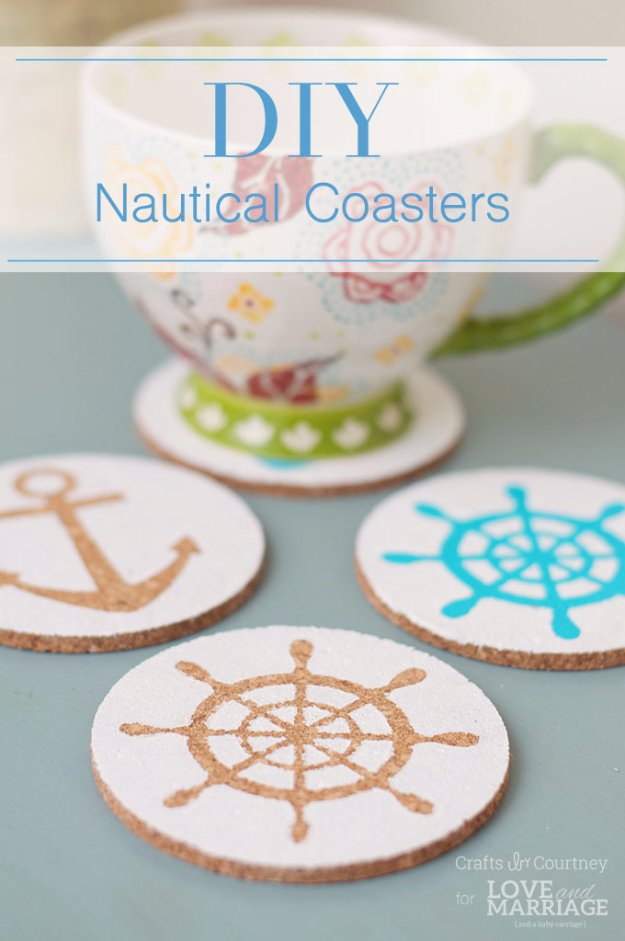 Easy Crafts To Make and Sell - Easy Nautical Coasters - Cool Homemade Craft Projects You Can Sell On Etsy, at Craft Fairs, Online and in Stores. Quick and Cheap DIY Ideas that Adults and Even Teens #craftstosell #diyideas #crafts