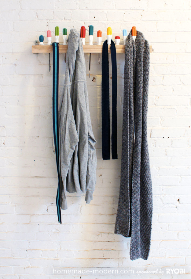 DIY Projects Your Garage Needs -Easy Screwdriver Coat Rack - Do It Yourself Garage Makeover Ideas Include Storage, Organization, Shelves, and Project Plans for Cool New Garage Decor #diy #garage #homeimprovement