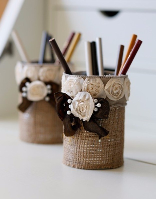 DIY Home Office Decor Ideas - Easy To Make Burlap Pencil Holder - Do It Yourself Desks, Tables, Wall Art, Chairs, Rugs, Seating and Desk Accessories for Your Home Office #office #diydecor #diy
