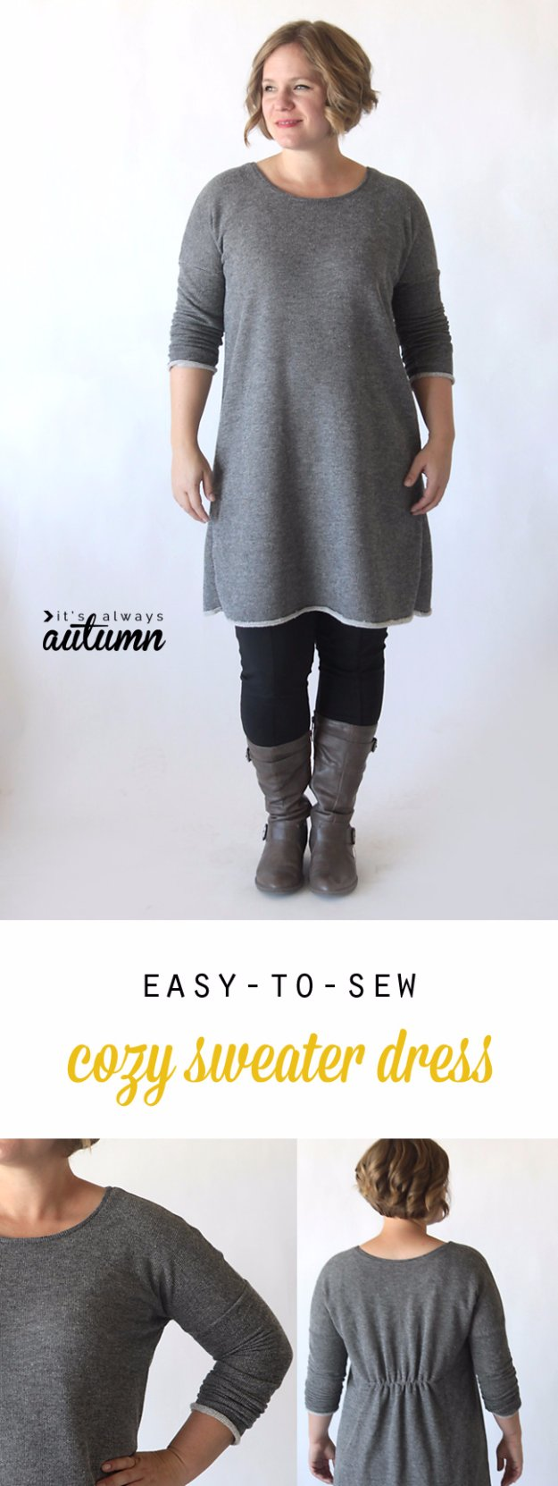 DIY Sewing Projects for Women - Easy to Sew Breezy Tee Long Sleeve Sweater Dress - How to Sew Dresses, Blouses, Pants, Tops and Fashion. Step by Step Tutorials and Instructions #sewing #fashion