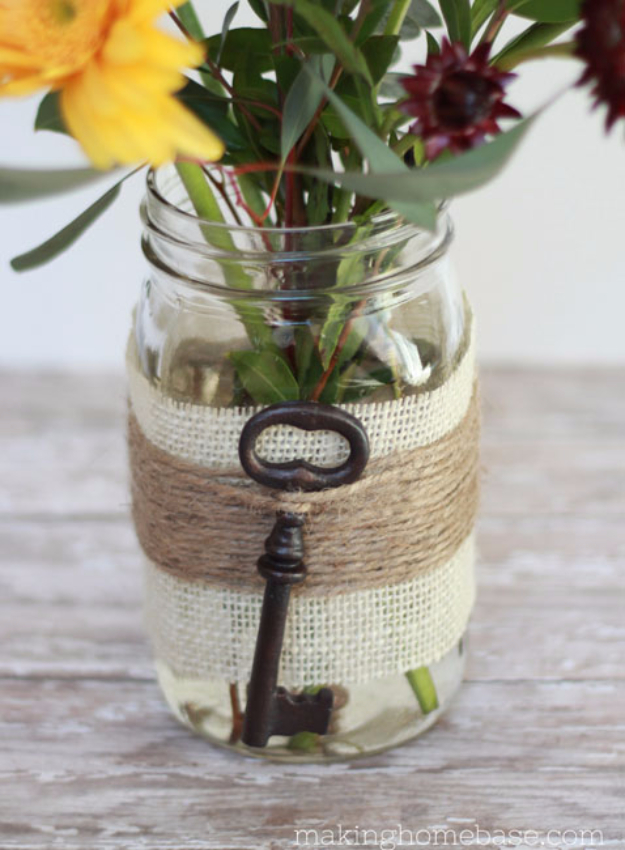 DIY Mason Jar Vases - Embellished Mason Jar Vase - Best Vase Projects and Ideas for Mason Jars - Painted, Wedding, Hanging Flowers, Centerpiece, Rustic Burlap, Ribbon and Twine http://diyjoy.com/diy-mason-jar-vases