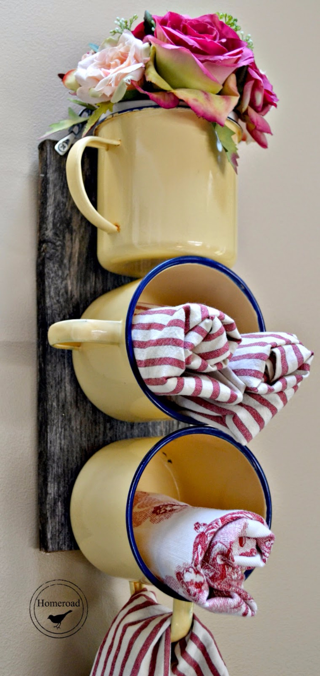 DIY Farmhouse Style Decor Ideas - Enamel Mug Decor And Organizer - Rustic Ideas for Furniture, Paint Colors, Farm House Decoration for Living Room, Kitchen and Bedroom http://diyjoy.com/diy-farmhouse-decor-ideas