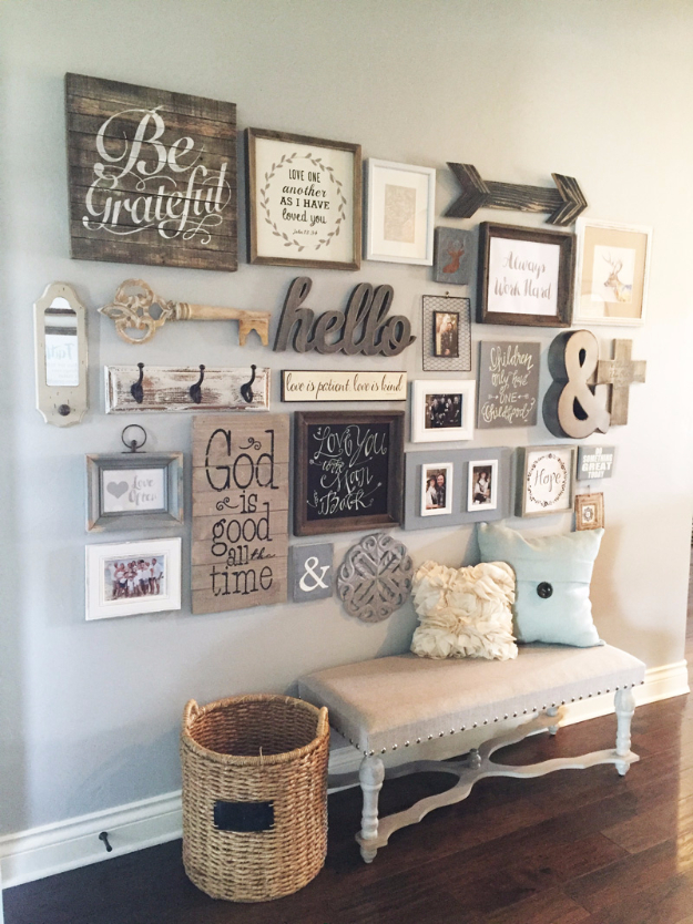 DIY Farmhouse Style Decor Ideas - Entryway Gallery Wall - Rustic Ideas for  Furniture, Paint