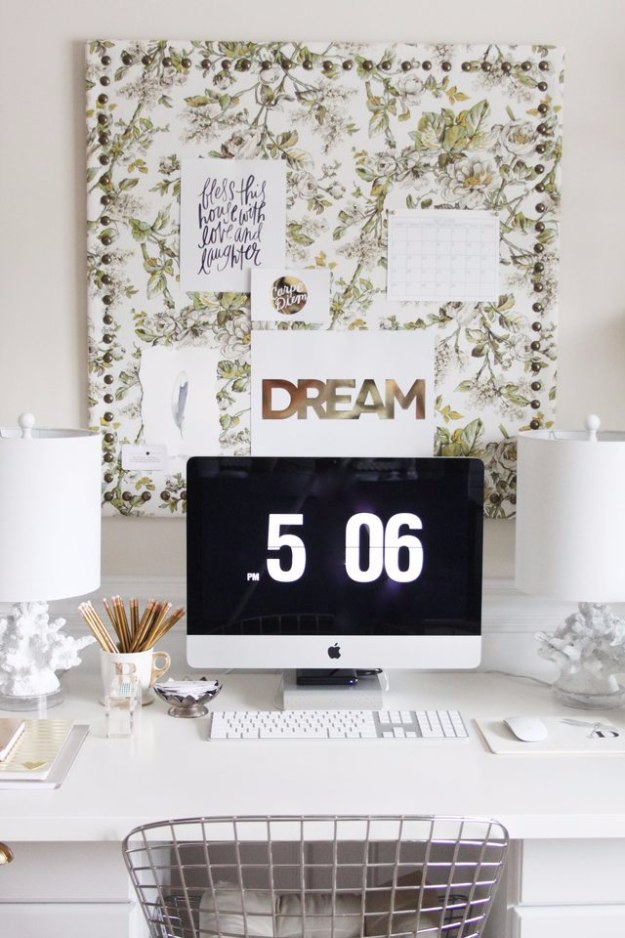 38 brilliant home office decor projects diy joy diy home office decor ideas fabric memo board do it yourself desks tables solutioingenieria Images