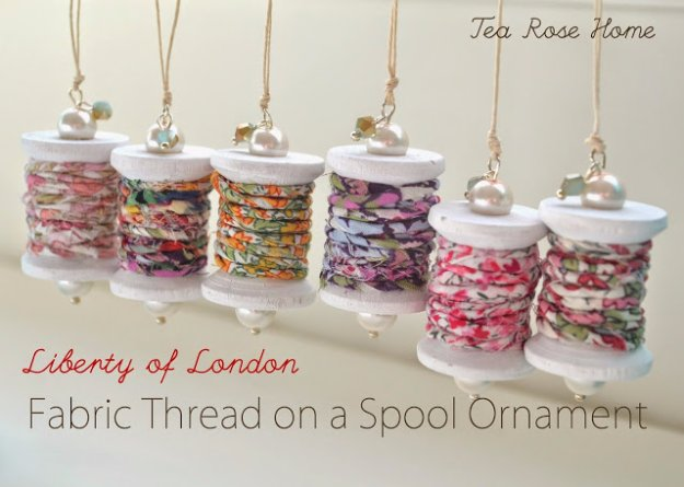 Easy Crafts To Make and Sell - Fabric Thread On A Spool Ornament - Cool Homemade Craft Projects You Can Sell On Etsy, at Craft Fairs, Online and in Stores. Quick and Cheap DIY Ideas that Adults and Even Teens #craftstosell #diyideas #crafts
