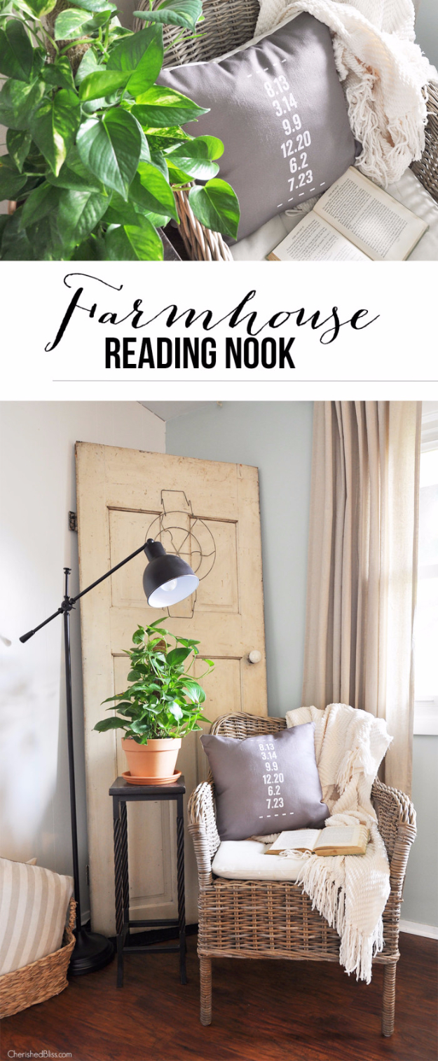 DIY Farmhouse Style Decor Ideas - Farmhouse Reading Nook - Rustic Ideas for Furniture, Paint Colors, Farm House Decoration for Living Room, Kitchen and Bedroom http://diyjoy.com/diy-farmhouse-decor-ideas