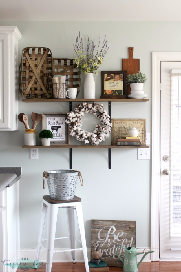 41 incredible farmhouse decor ideas for Decoration shelf