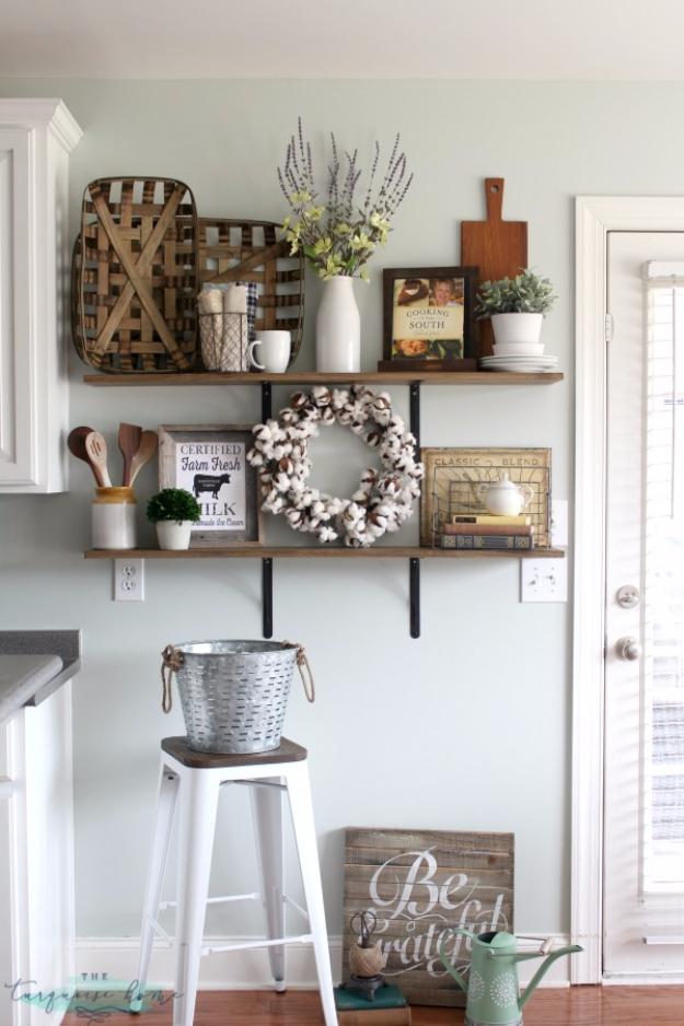 DIY Farmhouse Style Decor Ideas - Farmhouse Shelves Decor - Rustic Ideas for Furniture, Paint Colors, Farm House Decoration for Living Room, Kitchen and Bedroom #diy