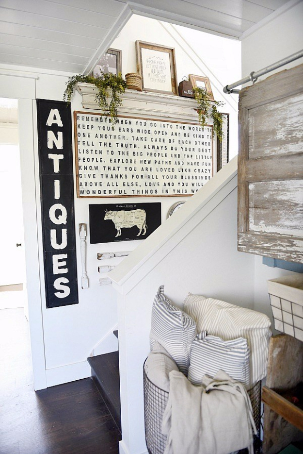 DIY Farmhouse Style Decor Ideas - Farmhouse Style Staircase Gallery Wall - Rustic Ideas for Furniture, Paint Colors, Farm House Decoration for Living Room, Kitchen and Bedroom http://diyjoy.com/diy-farmhouse-decor-ideas