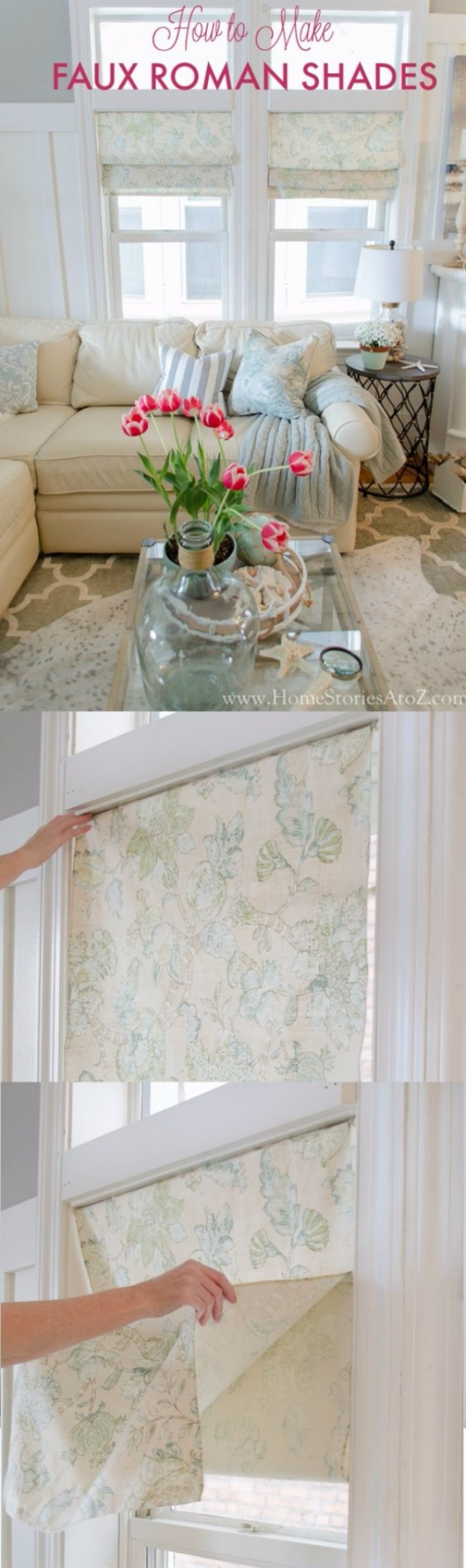 DIY Renters Decor Ideas - Faux Roman Shade Tutorial - Cool DIY Projects for Those Renting Aparments, Condos or Dorm Rooms - Easy Temporary Wall Art, Contact Paper, Washi Tape and Shelves to Make at Home http://diyjoy.com/diy-decor-ideas-for-renters