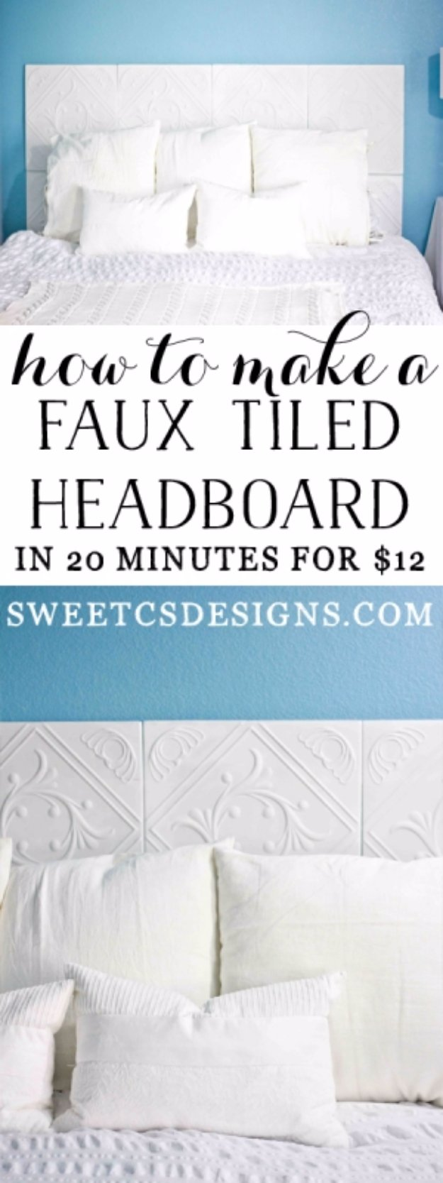 DIY Headboard Ideas - Faux Tiled Headboard - Easy and Cheap Do It Yourself Headboards - Upholstered, Wooden, Fabric Tufted, Rustic Pallet, Projects With Lights, Storage and More Step by Step Tutorials #diy #bedroom #furniture