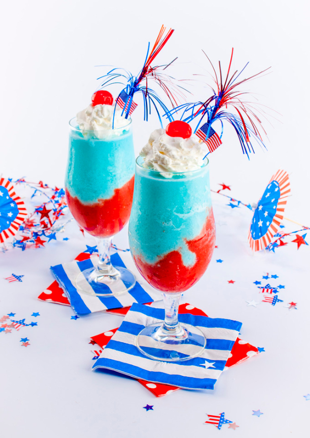 Best Fourth of July Food and Drink Ideas - Fireworks Pina Colada - BBQ on the 4th with these Desserts, Recipes and Ideas for Healthy Appetizers, Party Trays, Easy Meals for a Crowd and Fun Drink Ideas