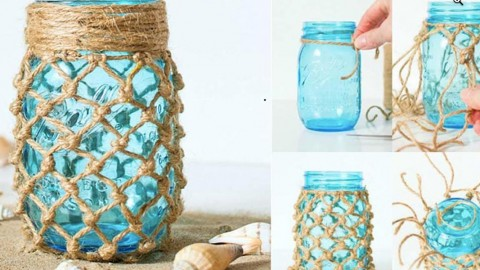 Easy Weekend Project: Fishnet Wrapped Mason Jar Tutorial! | DIY Joy Projects and Crafts Ideas