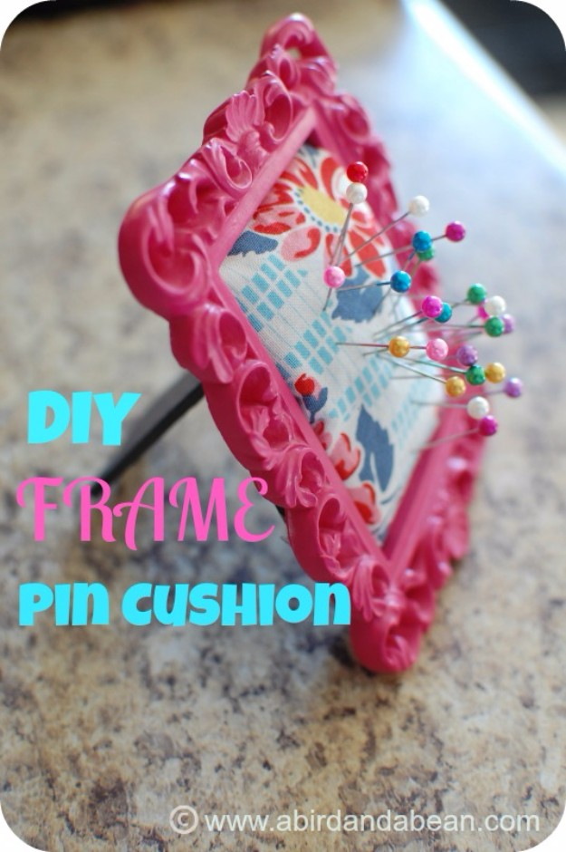 Cute Sewing Ideas - Easy DIY Gifts - Cheap DIY Christmas Gifts for Friends and Family - Easy Crafts To Sell on Etsy - How to Make A Frame Pin Cushion -Cool Dollar Store Crafts - Gift Ideas for Someone Who Sews - Quick Things to Make and Sell on Etsy #craftstosell #diyideas #crafts