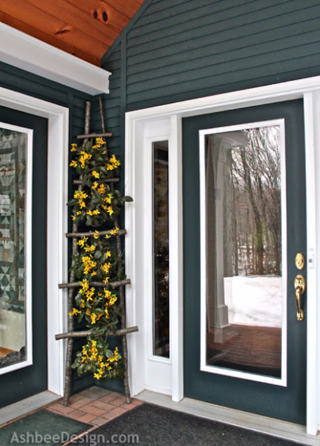 Creative Ways to Increase Curb Appeal on A Budget - Front Porch Decorative Ladder - Cheap and Easy Ideas for Upgrading Your Front Porch, Landscaping, Driveways, Garage Doors, Brick and Home Exteriors. Add Window Boxes, House Numbers