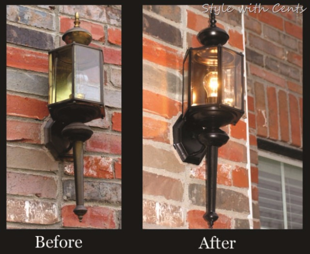 Creative Ways to Increase Curb Appeal on A Budget - Front Porch Light Makeover - Cheap and Easy Ideas for Upgrading Your Front Porch, Landscaping, Driveways, Garage Doors, Brick and Home Exteriors. Add Window Boxes, House Numbers, Mailboxes and Yard Makeovers http://diyjoy.com/diy-curb-appeal-ideas