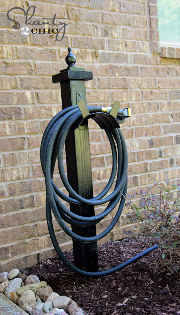 Creative Ways to Increase Curb Appeal on A Budget - Garden Hose Holder DIY - Cheap and Easy Ideas for Upgrading Your Front Porch, Landscaping, Driveways, Garage Doors, Brick and Home Exteriors. Add Window Boxes, House Numbers