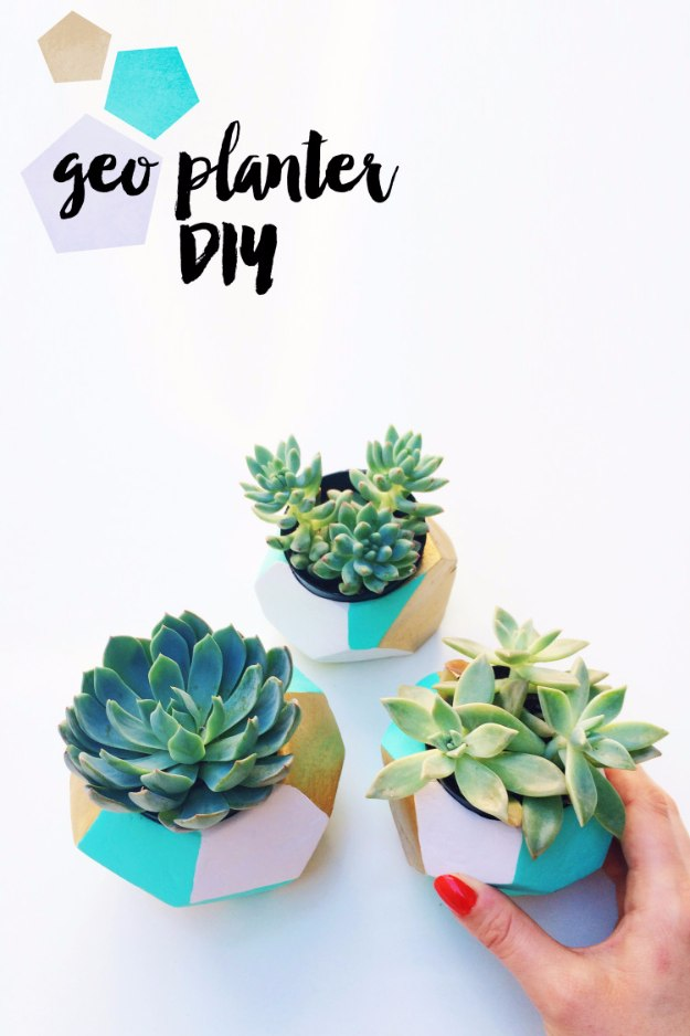 DIY Home Office Decor Ideas - Geo Planter DIY - Do It Yourself Desks, Tables, Wall Art, Chairs, Rugs, Seating and Desk Accessories for Your Home Office #office #diydecor #diy