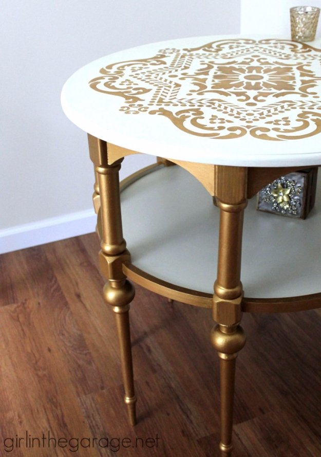 DIY End Tables with Step by Step Tutorials - Gold And White Stenciled End Table - Cheap and Easy End Table Projects and Plans - Wood, Storage, Pallet, Crate, Modern and Rustic. Bedroom and Living Room Decor Ideas #endtables #diydecor #diy