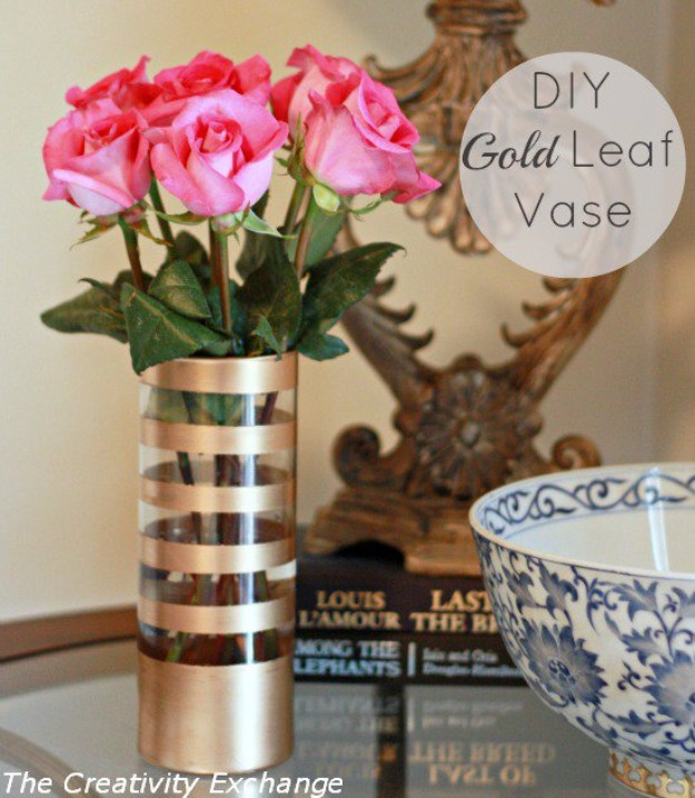 Easy Crafts To Make and Sell - Gold Leaf Vase - Cool Homemade Craft Projects You Can Sell On Etsy, at Craft Fairs, Online and in Stores. Quick and Cheap DIY Ideas that Adults and Even Teens #craftstosell #diyideas #crafts