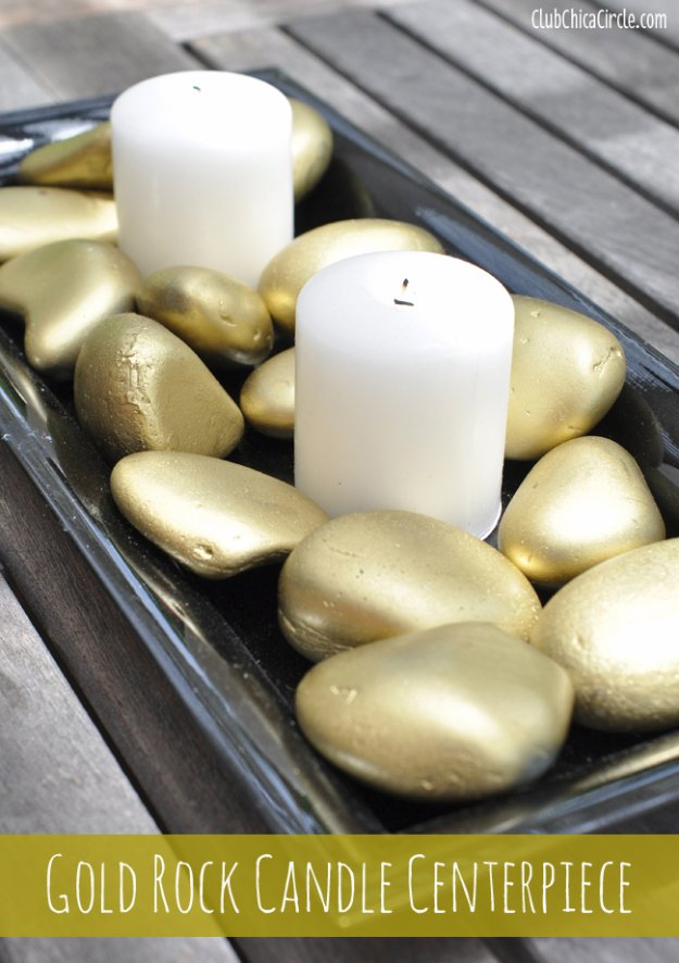 DIY Dining Room Decor Ideas - Gold Rock Candle Centerpiece - Cool DIY Projects for Table, Chairs, Decorations, Wall Art, Bench Plans, Storage, Buffet, Hutch and Lighting Tutorials