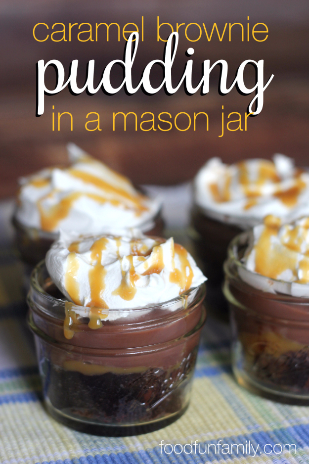 Best Recipes in A Jar - Gooey Caramel Brownie Pudding In A Jar - DIY Mason Jar Gifts, Cookie Recipes and Desserts, Canning Ideas, Overnight Oatmeal, How To Make Mason Jar Salad, Healthy Recipes and Printable Labels