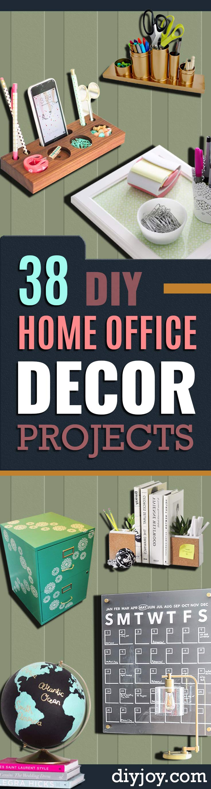 DIY Home Office Decor Ideas - Do It Yourself Desks, Tables, Wall Art, Chairs, Rugs, Seating and Desk Accessories for Your Home Office #diydecor #office #diy