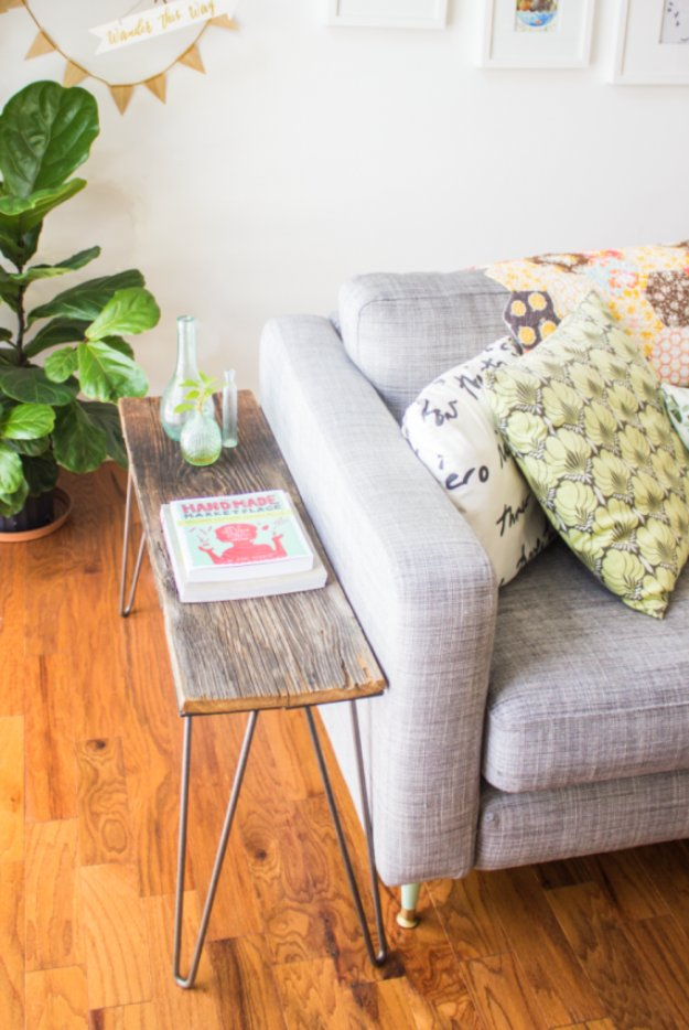 DIY End Tables with Step by Step Tutorials - Hairpin Leg End Table - Cheap and Easy End Table Projects and Plans - Wood, Storage, Pallet, Crate, Modern and Rustic. Bedroom and Living Room Decor Ideas #endtables #diydecor #diy