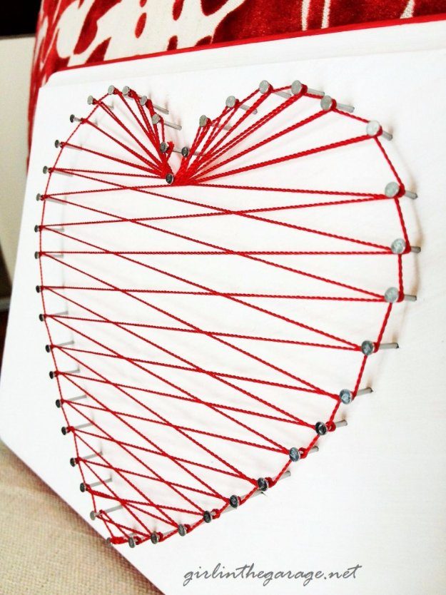 DIY Living Room Decor Ideas - Heartstring Wall Art - Cool Modern, Rustic and Creative Home Decor - Coffee Tables, Wall Art, Rugs, Pillows and Chairs. Step by Step Tutorials and Instructions