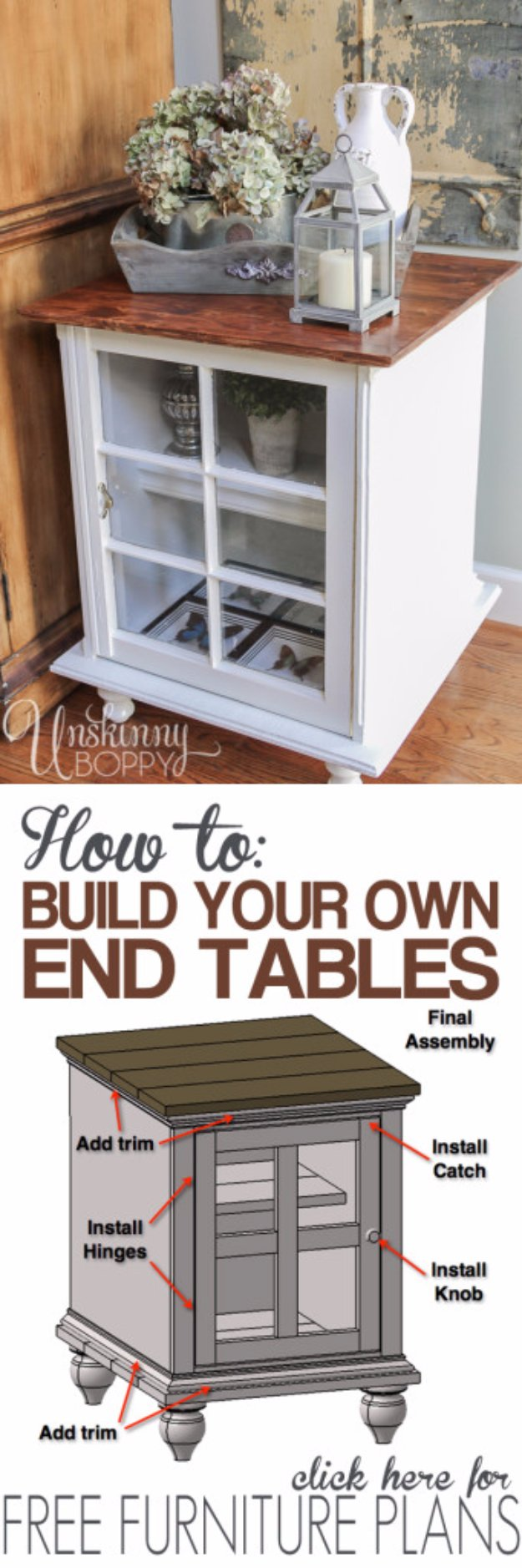 DIY End Tables with Step by Step Tutorials - Homemade End Table From Old Windows - Cheap and Easy End Table Projects and Plans - Wood, Storage, Pallet, Crate, Modern and Rustic. Bedroom and Living Room Decor Ideas #endtables #diydecor #diy
