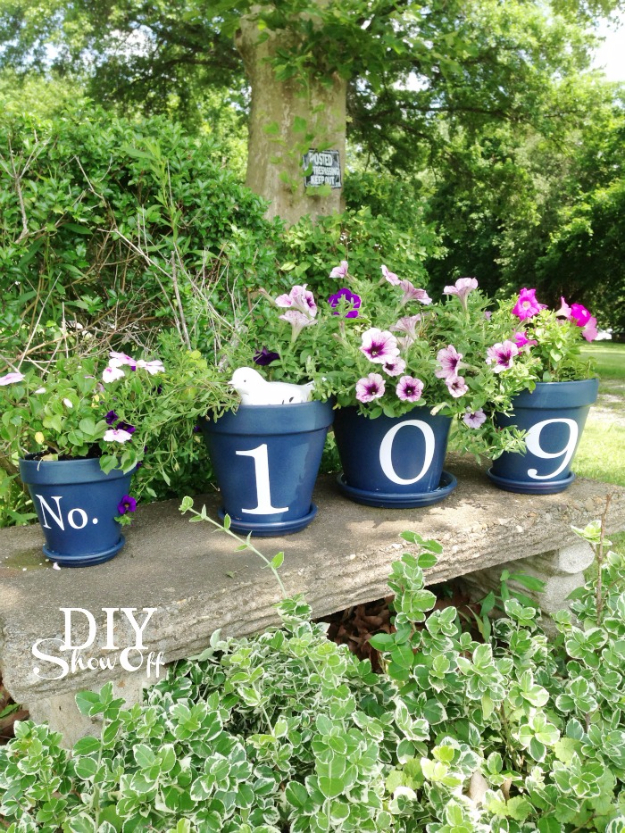 Creative Ways to Increase Curb Appeal on A Budget - House Number Flower Pots - Cheap and Easy Ideas for Upgrading Your Front Porch, Landscaping, Driveways, Garage Doors, Brick and Home Exteriors. Add Window Boxes, House Numbers, Mailboxes and Yard Makeovers http://diyjoy.com/diy-curb-appeal-ideas