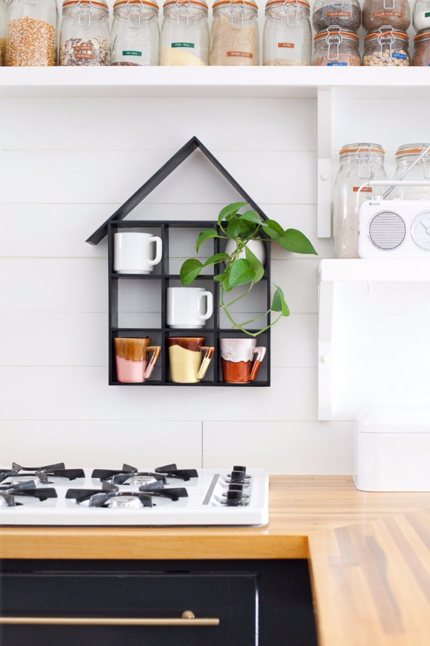 DIY Kitchen Decor Ideas - House Shaped Shelf DIY - Creative Furniture Projects, Accessories, Countertop Ideas, Wall Art, Storage, Utensils, Towels and Rustic Furnishings #diyideas #kitchenideass