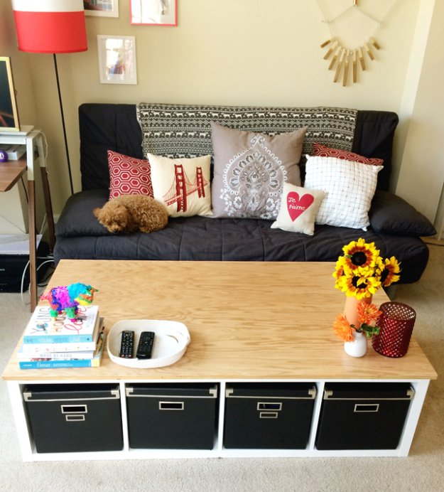 DIY Renters Decor Ideas - DIY Renters Decor Ideas - Ikea Kallax Coffee Table DIY - Cool DIY Projects for Those Renting Aparments, Condos or Dorm Rooms - Easy Temporary Wall Art, Contact Paper, Washi Tape and Shelves to Make at Home #diyhomedecor #diyideas