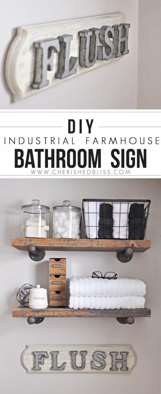 DIY Bathroom Decor Ideas - Industrial Farmhouse Bathroom Sign- Cool Do It Yourself Bath Ideas on A Budget, Rustic Bathroom Fixtures, Creative Wall Art, Rugs mason jar idea bath diy