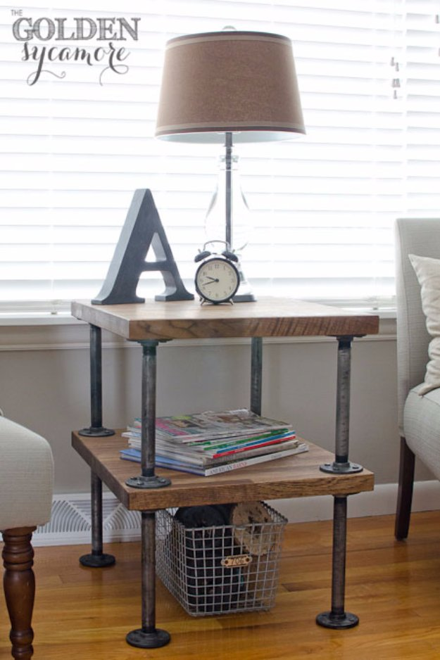 DIY End Tables with Step by Step Tutorials - Industrial Side Table Tutorial - Cheap and Easy End Table Projects and Plans - Wood, Storage, Pallet, Crate, Modern and Rustic. Bedroom and Living Room Decor Ideas http://diyjoy.com/diy-end-tables