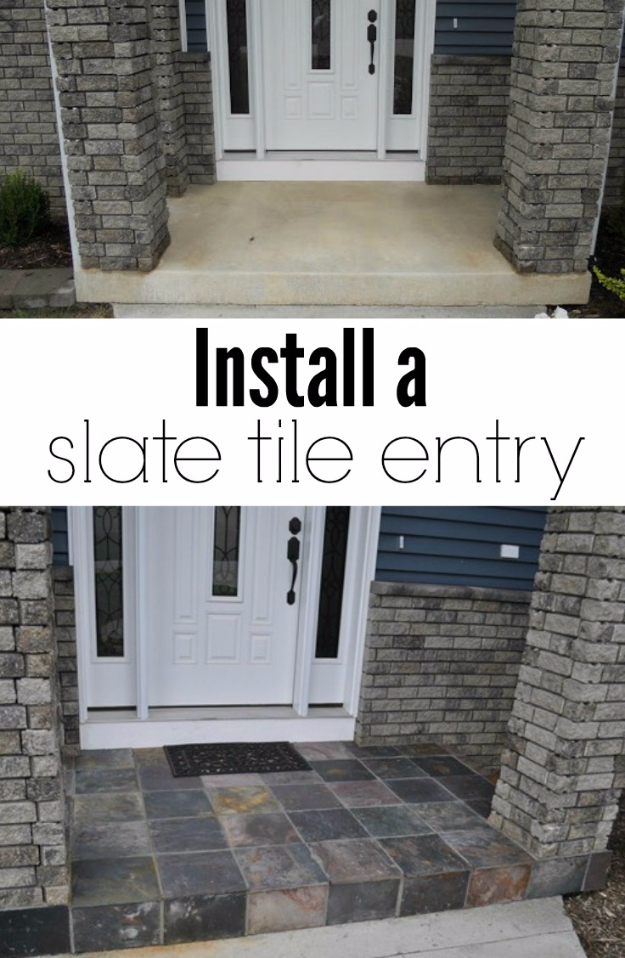Creative Ways to Increase Curb Appeal on A Budget - Install A Slate Tile Entry - Cheap and Easy Ideas for Upgrading Your Front Porch, Landscaping, Driveways, Garage Doors, Brick and Home Exteriors. Add Window Boxes, House Numbers