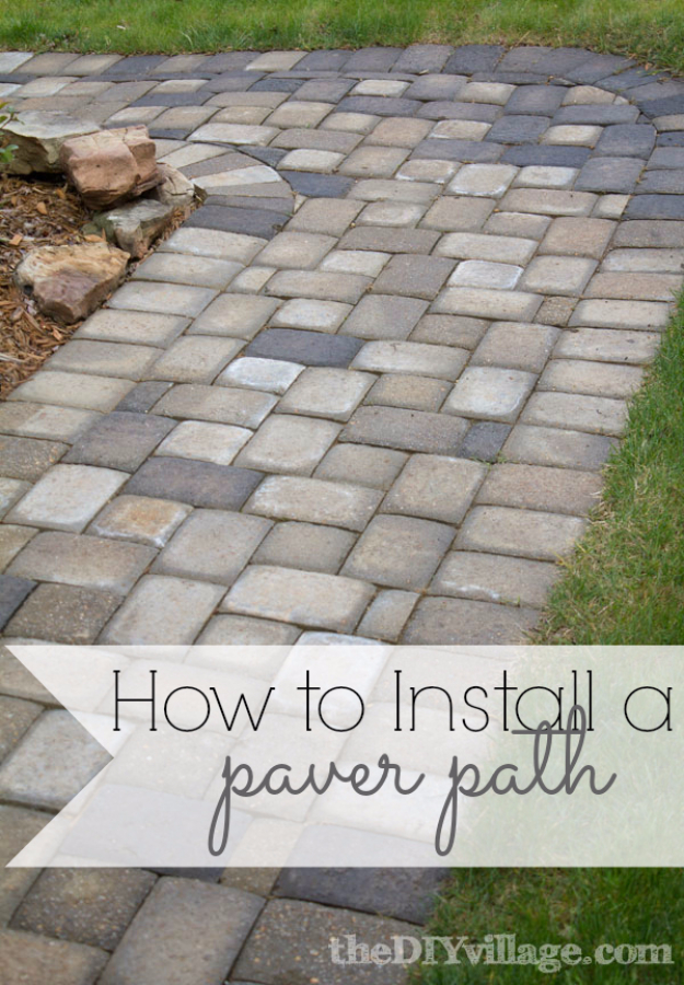 Creative Ways to Increase Curb Appeal on A Budget - Install Paver Path - Cheap and Easy Ideas for Upgrading Your Front Porch, Landscaping, Driveways, Garage Doors, Brick and Home Exteriors. Add Window Boxes, House Numbers