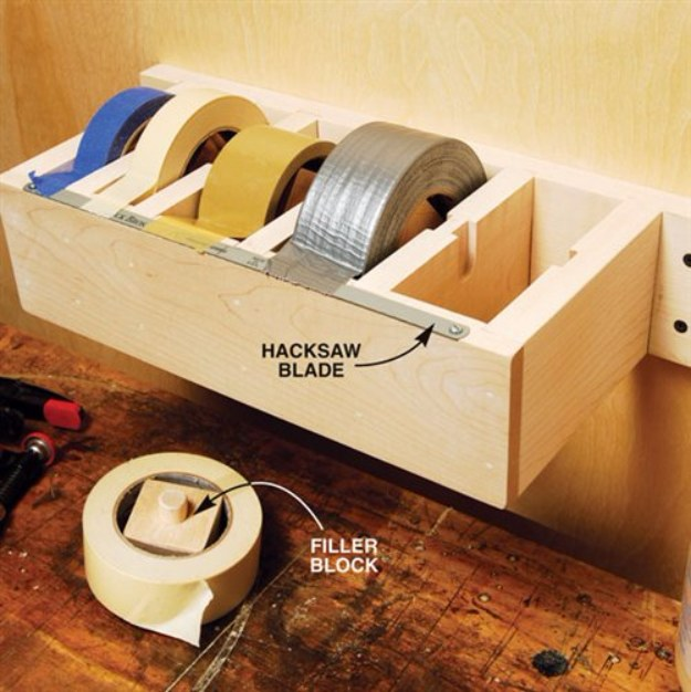 DIY Projects Your Garage Needs -Jumbo Tape Dispenser - Do It Yourself Garage Makeover Ideas Include Storage, Organization, Shelves, and Project Plans for Cool New Garage Decor #diy #garage #homeimprovement
