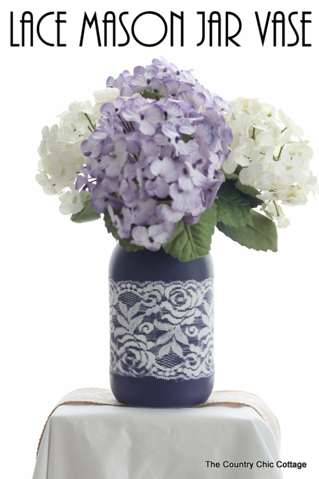 DIY Mason Jar Vases - Lace Mason Jar Vase - Best Vase Projects and Ideas for Mason Jars - Painted, Wedding, Hanging Flowers, Centerpiece, Rustic Burlap, Ribbon and Twine http://diyjoy.com/diy-mason-jar-vases